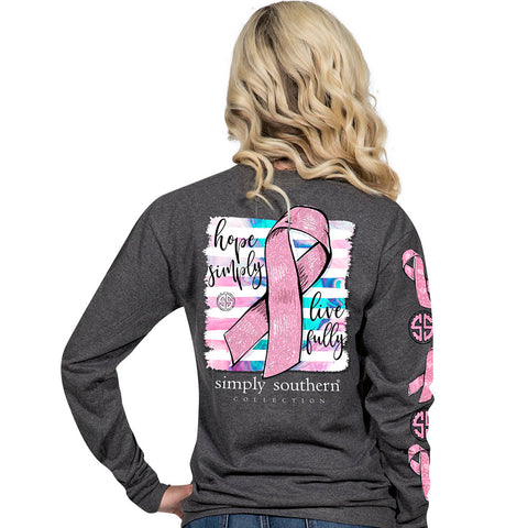 Simply Southern Preppy Hope Ribbon Cancer Long Sleeve T-Shirt