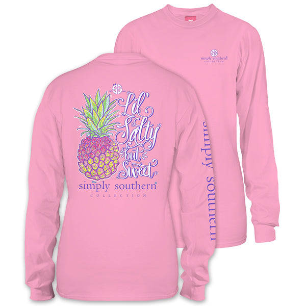 simply southern preppy lil salty glitter pineapple long sleeve t