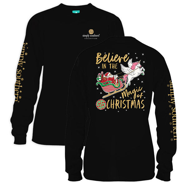 SALE Simply Southern Preppy Magic Of Christmas Holiday Long Sleeve T-Shirt