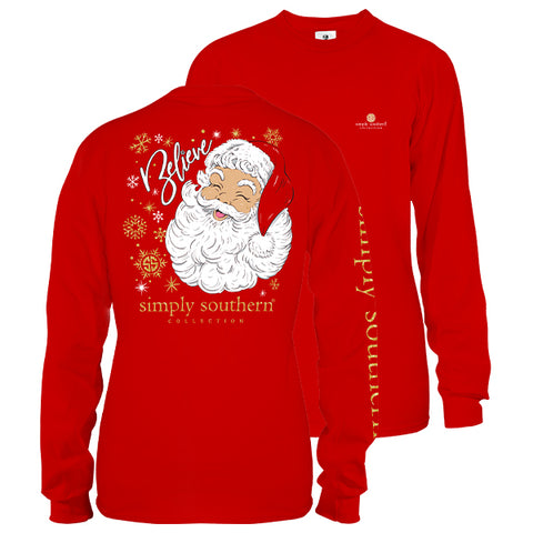 Simply Southern Preppy Believe Santa Holiday Long Sleeve T-Shirt