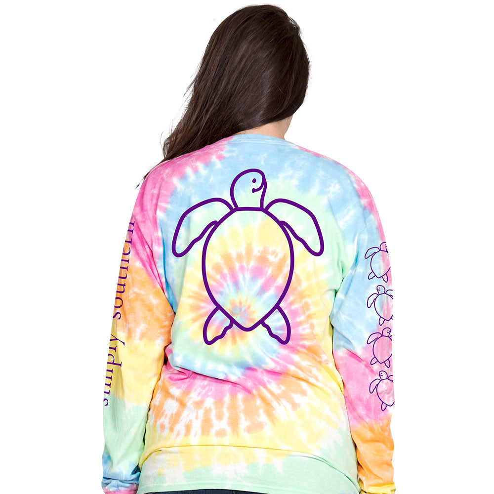 589d68a80d5 Simply Southern Preppy TieDye Pattern Save The Turtles Collection Long  Sleeve T-Shirt