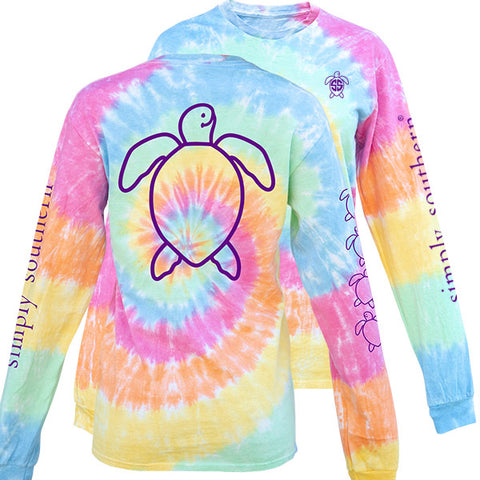 Simply Southern Preppy TieDye Pattern Save The Turtles Collection Long Sleeve T-Shirt