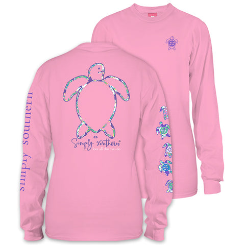 Simply Southern Save The Turtles Collection PRP Logo Pink Long Sleeve T-Shirt