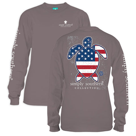 Simply Southern Save The Turtles Collection USA Turtle Long Sleeve T-Shirt