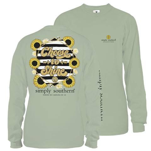 Simply Southern Preppy Choose To Shine Sunflower Long Sleeve T-Shirt