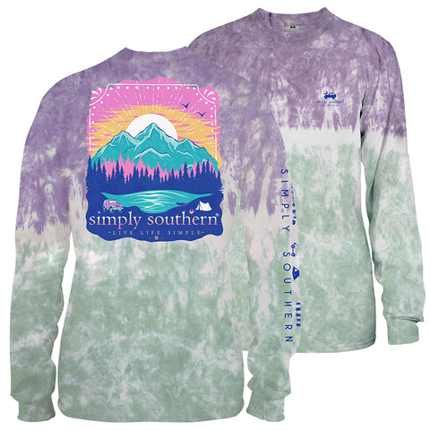 Simply Southern Simple Mountains Tie Dye Long Sleeve T-Shirt