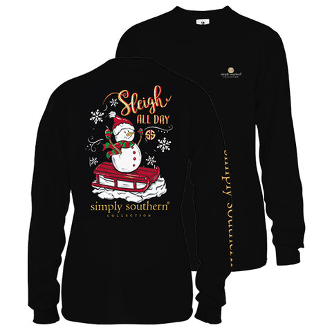 Simply Southern Preppy Sleigh All Day Snowman Holiday Long Sleeve T-Shirt