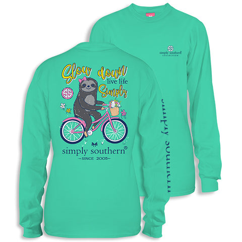 Simply Southern Preppy Slow Down Sloth Long Sleeve T-Shirt