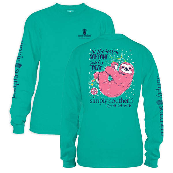 Simply southern preppy sloth seafoam long sleeve t shirt for Simply for sports brand t shirts