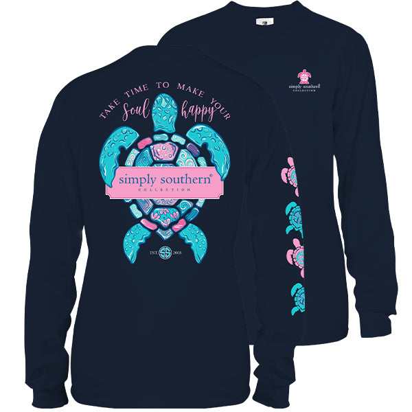 Simply Southern Preppy Soul Happy Turtle Long Sleeve T-Shirt