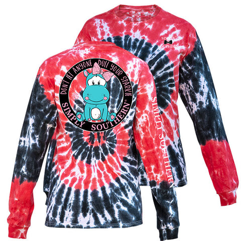 Simply Southern Dull Your Sparkle Hurricane TieDye Pattern Long Sleeve T-Shirt