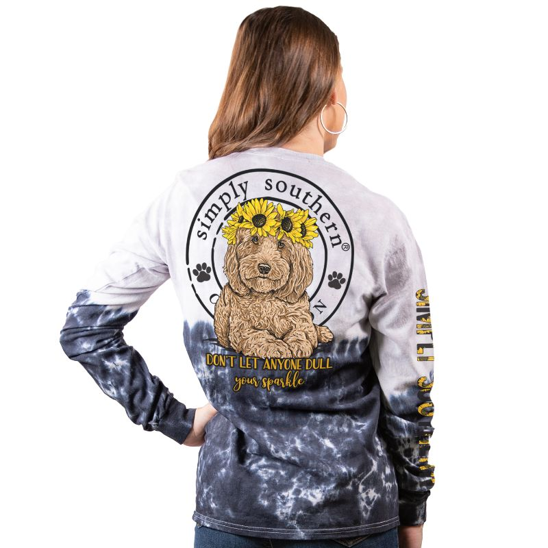 Simply Southern Dull Your Sparkle Dog Sunflower Long Sleeve T-Shirt