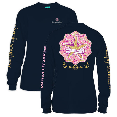 Sale Simply Southern Wish Upon A Starfish Long Sleeve T-Shirt