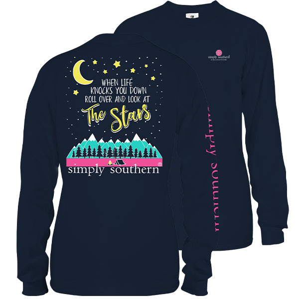 Sale Simply Southern Preppy Look At The Stars Long Sleeve T-Shirt