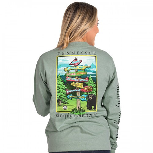 Simply Southern Preppy Tennessee Signs State Long Sleeve T-Shirt