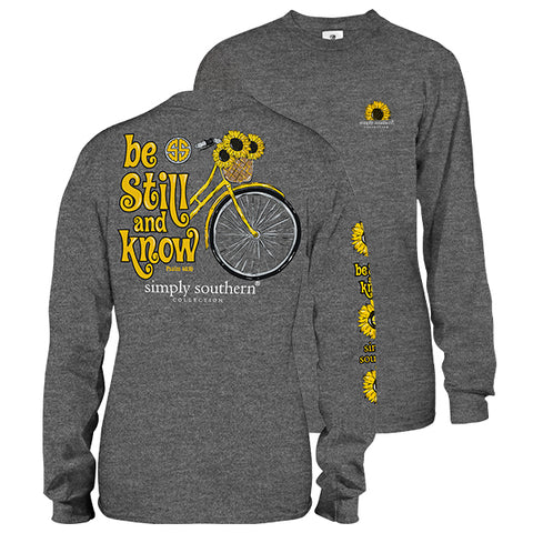 Simply Southern Preppy Be Still And Know Sunflower Long Sleeve T-Shirt