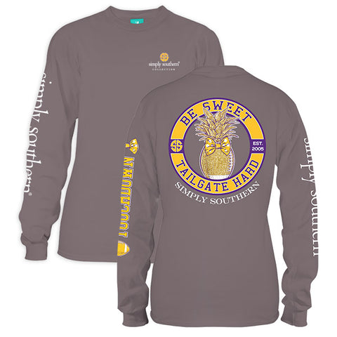 Simply Southern Preppy Be Sweet Tailgate Hard Gold Purple Long Sleeve T-Shirt