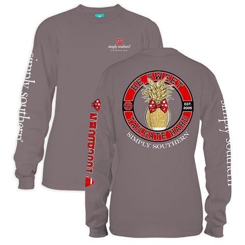Simply Southern Preppy Be Sweet Tailgate Hard Red Black Long Sleeve T-Shirt