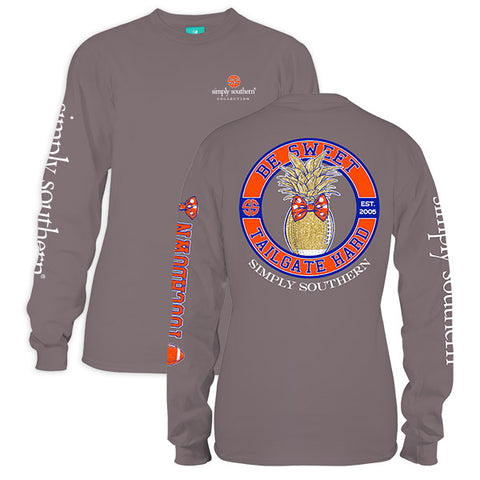 Simply Southern Preppy Be Sweet Tailgate Hard Blue Orange Long Sleeve T-Shirt - SimplyCuteTees