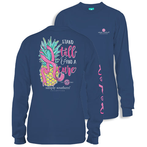 Simply Southern Preppy Stand Tall Find Cure Cancer Long Sleeve T-Shirt
