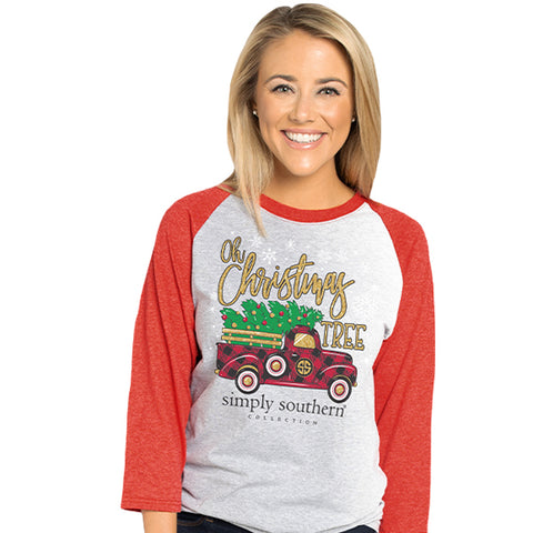 Simply Southern Christmas Tree Truck Holiday Long Sleeve T-Shirt