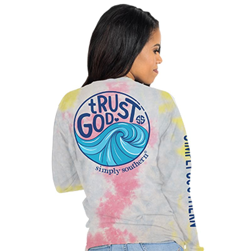 Simply Southern Trust God Tie Dye Long Sleeve T-Shirt