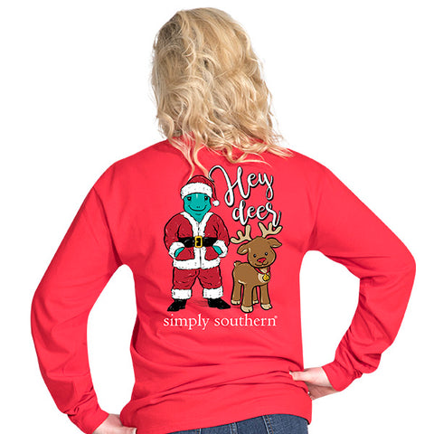 Simply Southern Preppy Hey Deer Turtle Santa Holiday Long Sleeve T-Shirt