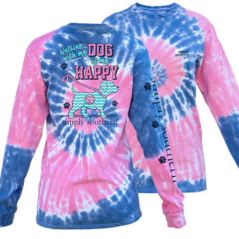 Simply Southern Preppy Walking My Dog Taffy Tie Dye Long Sleeve T-Shirt