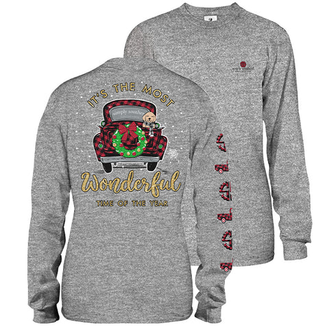 Simply Southern Preppy Wonderful Time Of Year Holiday Long Sleeve T-Shirt