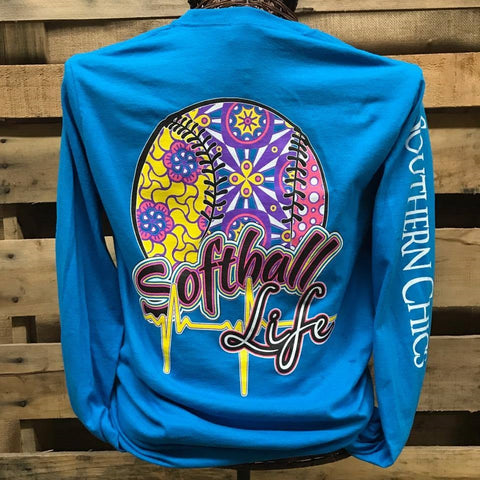 Southern Chics Softball Life Sports Long Sleeve Girlie Bright Shirt