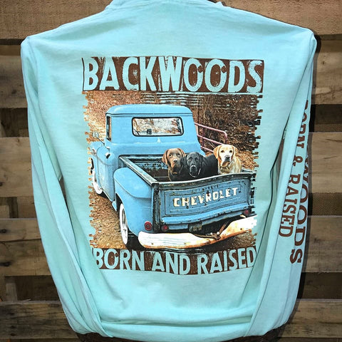 Backwoods Born & Raised Truck Lab Dogs Country Comfort Colors Long Sleeves Bright Unisex T Shirt