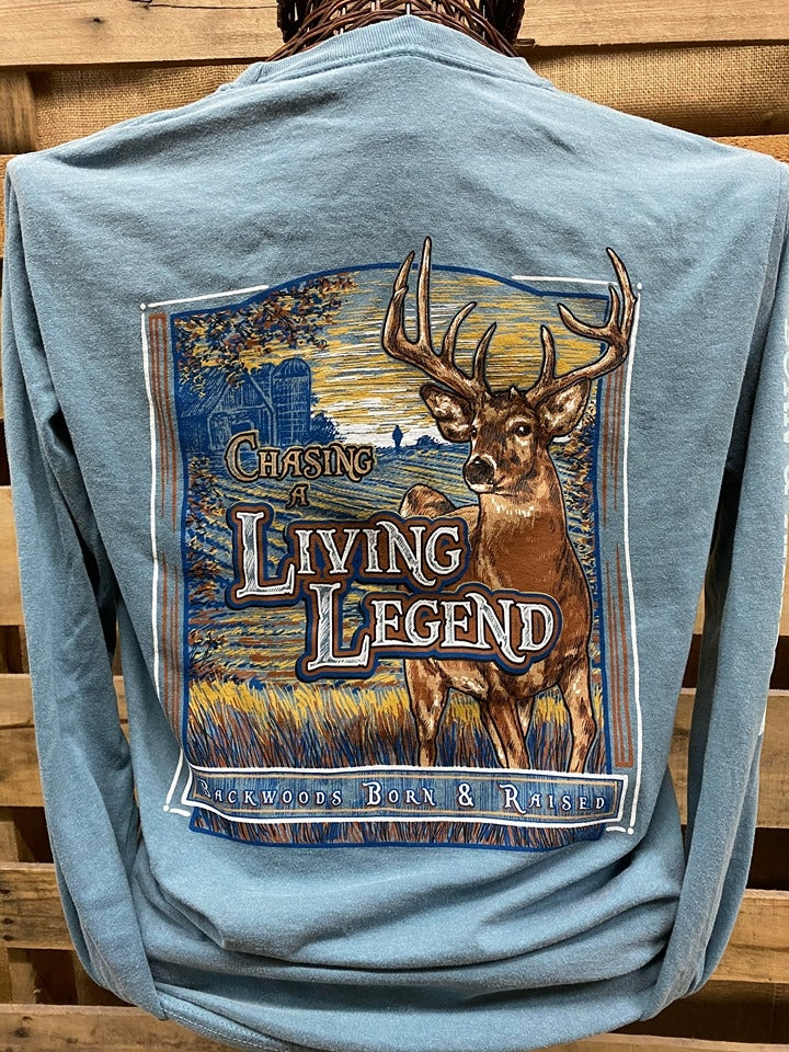 Backwoods Born & Raised Chasing a Living Legend Deer Comfort Colors Long Sleeves Unisex T Shirt