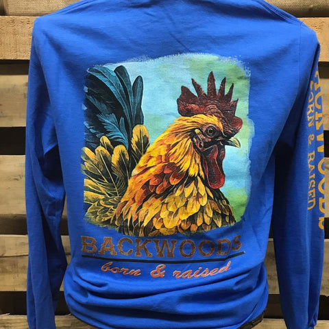 Backwoods Born & Raised  Southern Rooster Unisex Bright Long Sleeve T Shirt - SimplyCuteTees