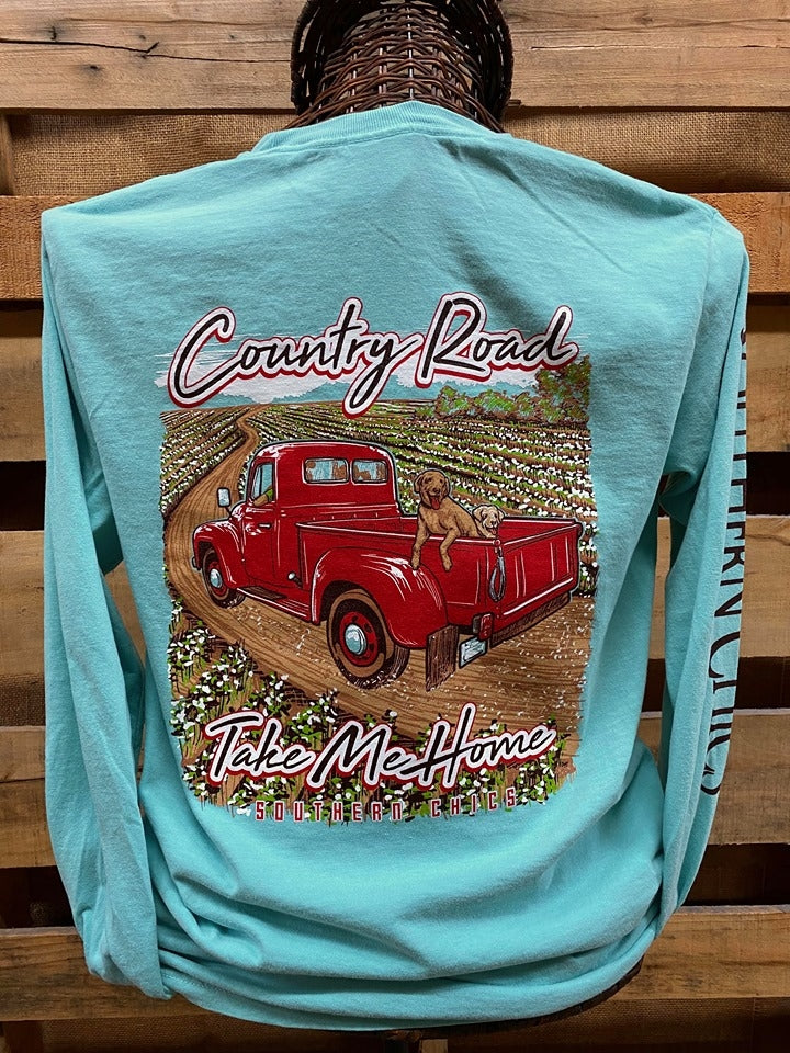 Southern Chics Apparel Country Roads Take Me Home Truck Dog Comfort Colors Long Sleeve T Shirt