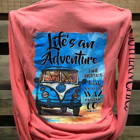 Southern Chics Life is an Adventure Christian Comfort Colors Long Sleeves Girlie Bright T Shirt
