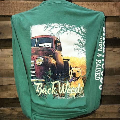 Backwoods Born & Raised Truck Yellow Lab Dog Country Comfort Colors Long Sleeves Bright Unisex T Shirt