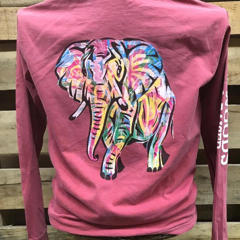 Backwoods Watercolor Elephant Comfort Colors Bright Unisex Long Sleeve T Shirt