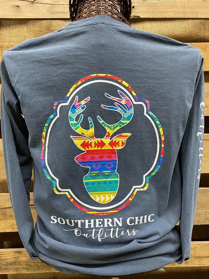 Southern Chics Apparel Tribal Deer Comfort Colors Long Sleeve T Shirt