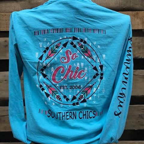 Southern Chics So Chic Feathers Arrows Comfort Colors Bright Long Sleeve T Shirt