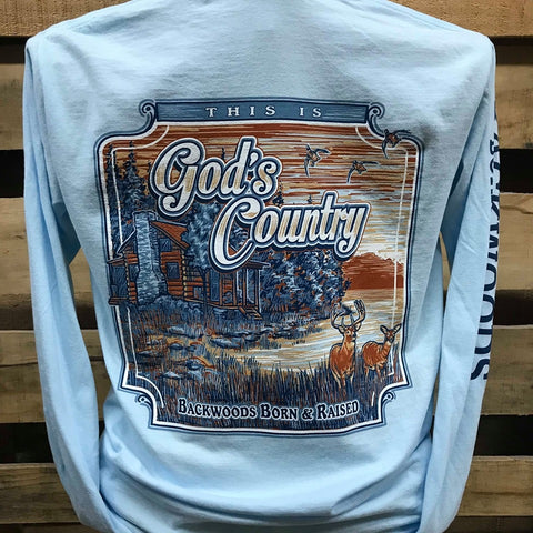 Backwoods Born & Raised God's Country Cabin Comfort Colors Long Sleeves Unisex T Shirt