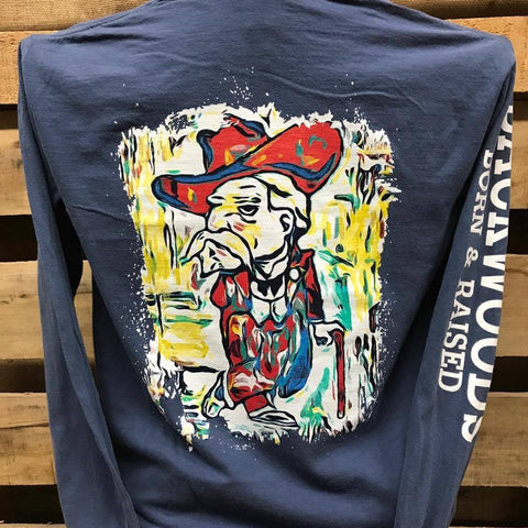 Backwoods Cowboy Watercolor Colonel Comfort Colors Bright Unisex Long Sleeve T Shirt - SimplyCuteTees