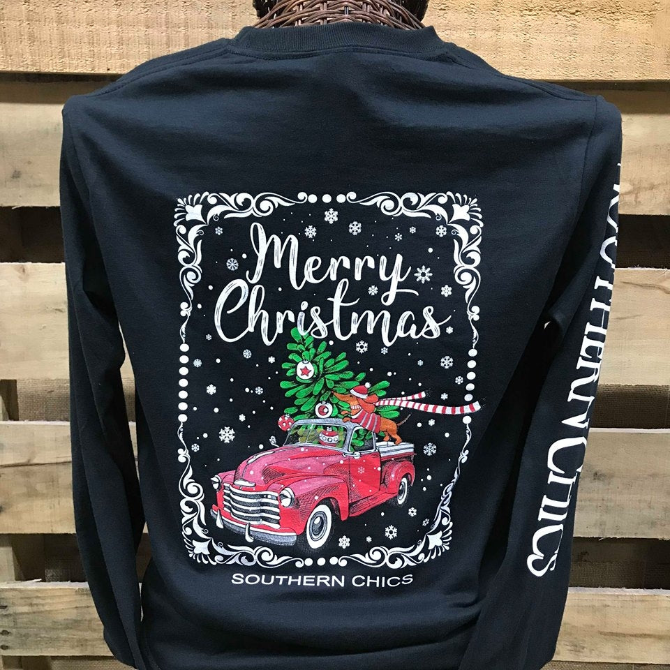 14243592 Southern Chics Merry Christmas Truck Dog Girlie Long Sleeve Bright T S |  SimplyCuteTees