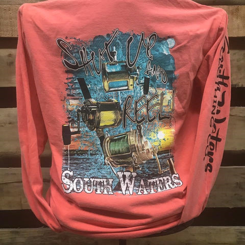 South Waters Shut Up & Reel Fishing Comfort Colors Bright Unisex Long Sleeve T Shirt