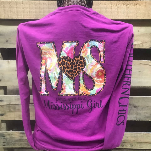 Southern Chics Mississippi State MS Small Town Girl Heart Comfort Colors Long Sleeve Bright T Shirt