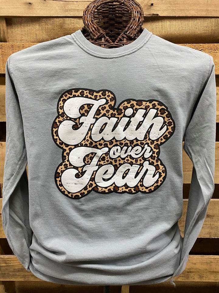 Southern Chics Apparel Leopard Faith Over Fear Christian Comfort Colors Long Sleeve T Shirt