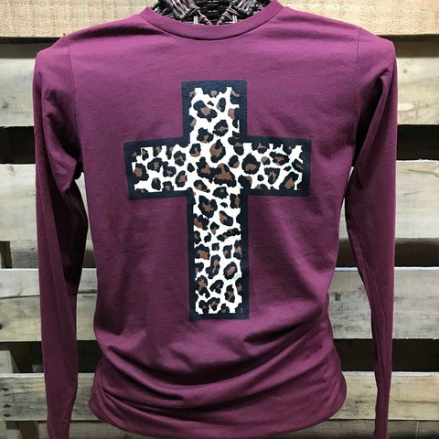 Southern Chics Apparel Leopard Cross Canvas Long Sleeves T Shirt