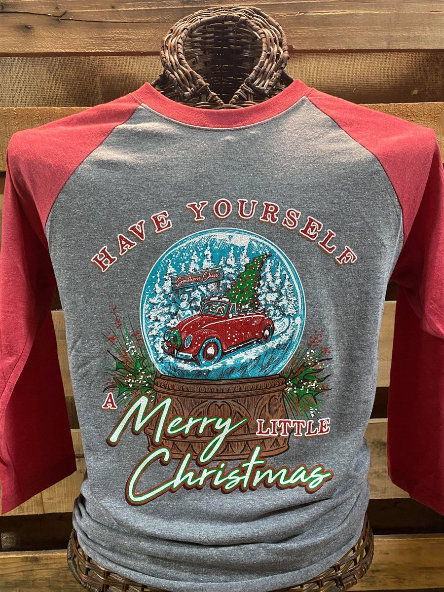 Southern Chics Have Yourself a Merry Little Christmas Raglan Canvas Girlie 3/4 Long Sleeve T Shirt