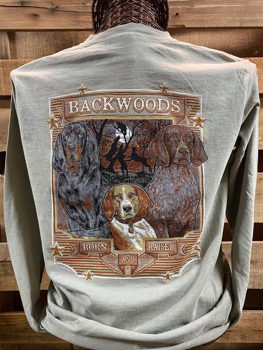 Backwoods Born & Raised Coon Dog Comfort Colors Long Sleeves Unisex T Shirt