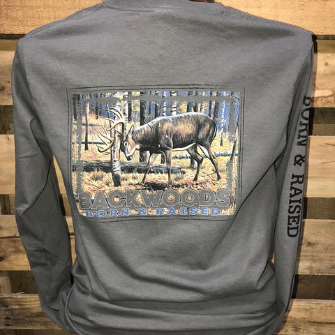 Backwoods Born & Raised Deer Rut Country Long Sleeves Bright Unisex T Shirt - SimplyCuteTees