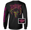 Country Life Outfitters Black & Pink Camo Realtree Deer Skull Head Hunt Vintage Long Sleeve Bright T Shirt - SimplyCuteTees